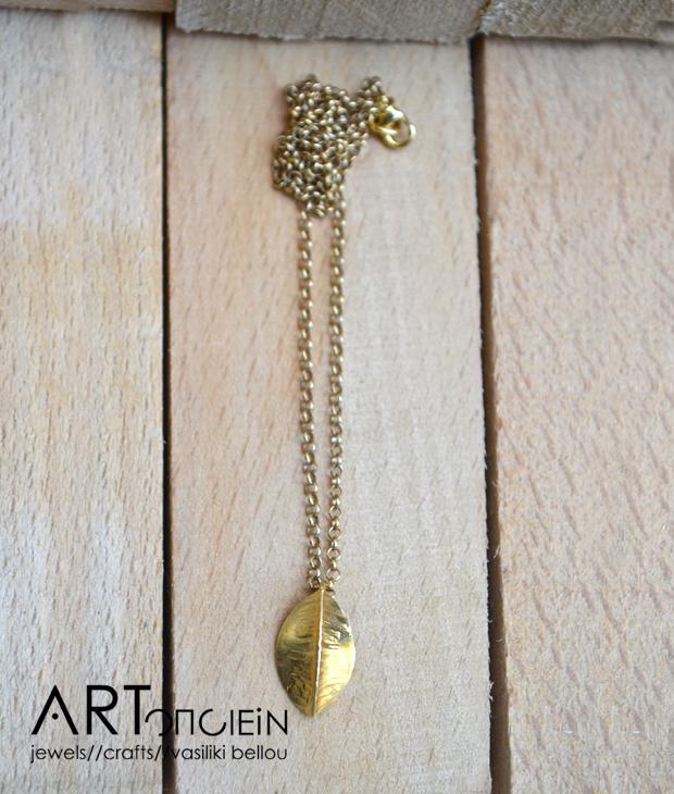 Μενταγιόν Φυλλαράκι από την Κατερίνα Χρυσόγλου  Ασήμι 925 επιχρυσωμένο