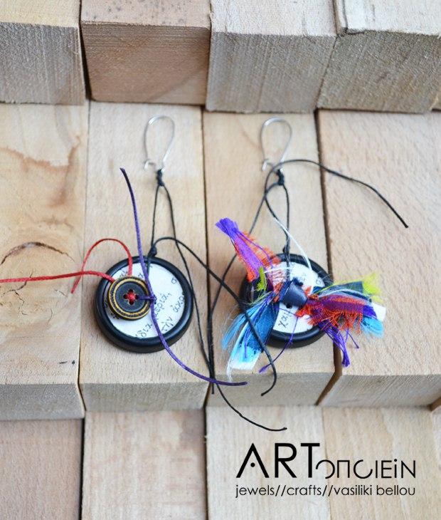 Σκουλαρίκια Κουμπάκια από την Ραχήλ Ανδρεάδου  Πλαστικά κουμπιά  Ύφασμα  Κηρονήμα  Νίκελ