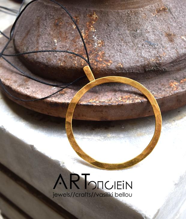 Κρεμαστό ασήμι επιχρυσωμένο κρίκος Κατερίνα Χρυσόγλου Artonomous