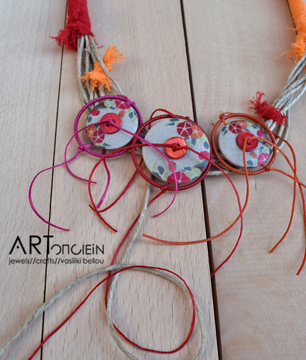 Statement necklace with flowers by Rachil Andreadou