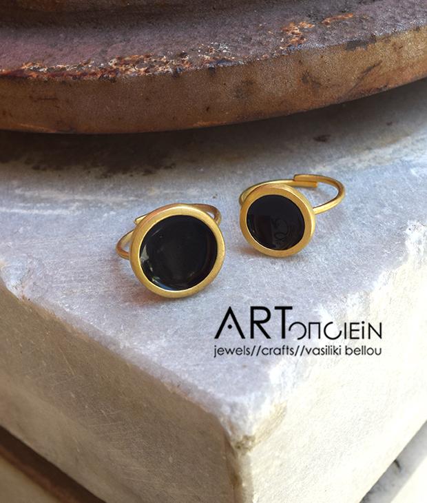 Δαχτυλίδι με σμάλτο Πριγκιπώ - μαύρο - Artonomous