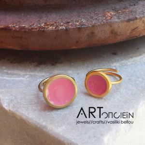 Δαχτυλίδι με σμάλτο Πριγκιπώ - ροζ - Artonomous