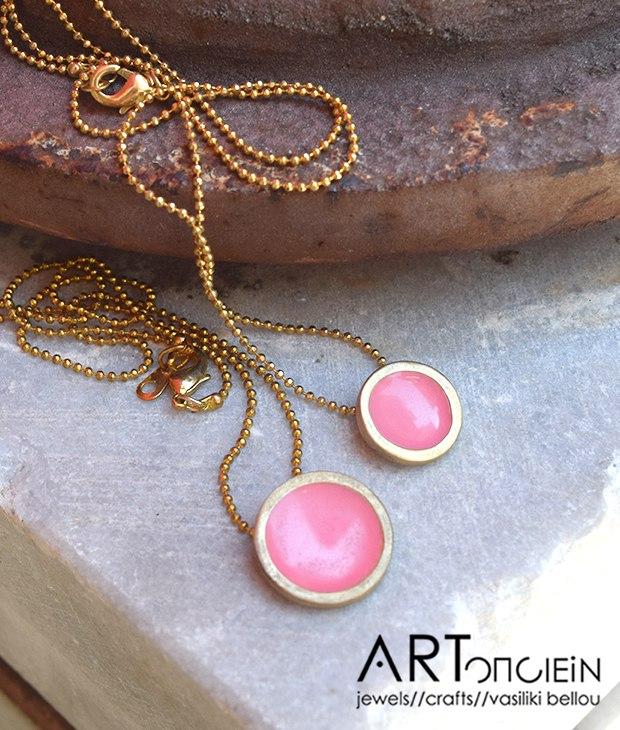Κολιέ με σμάλτο Πριγκιπώ - ροζ - Artonomous