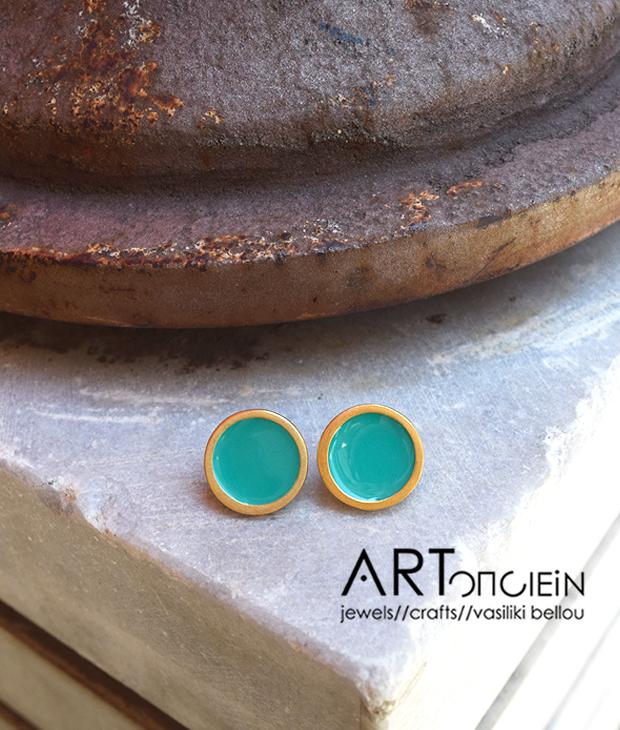 Σκουλαρίκια με σμάλτο Πριγκιπώ - aqua artopoiein
