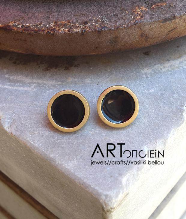 Σκουλαρίκια με σμάλτο Πριγκιπώ - μαύρα Artonomous