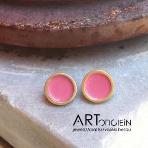 Σκουλαρίκια με σμάλτο Πριγκιπώ - ροζ Artonomous
