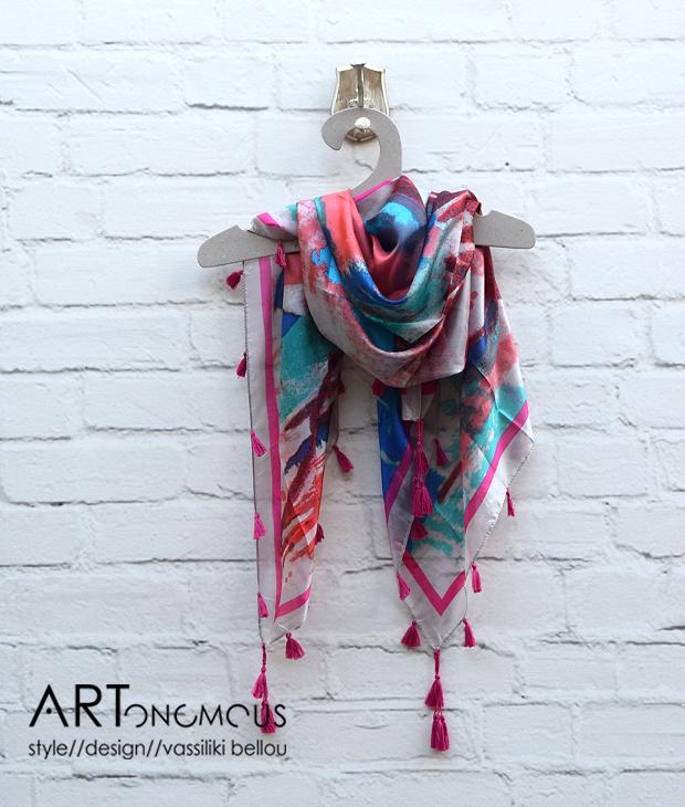 silk scarf with tassels artonomous