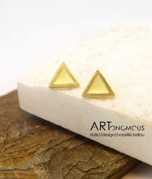 triangle enamel earrings prigkipo artonomous